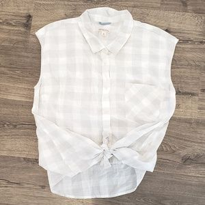 White & Grey Gingham Button Cap Sleeve Shirt